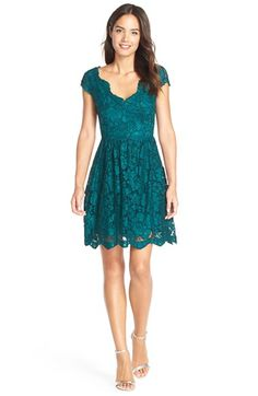 Free shipping and returns on Betsey Johnson Scalloped Lace Fit & Flare Dress at Nordstrom.com. Emerald floral lace overlays a sweet fit-and-flare dress styled with scalloped edges and a double V-neck bodice that highlights your features.