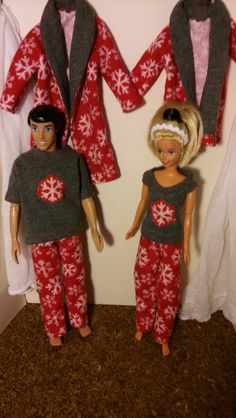 You get BOTH sets of matching holiday pj sets.  Kens fits BOTH Ken dolls AND the Disney Prince dolls!! Barbies fit BOTH old and new styles of Barbie.  Dolls NOT included.  Ships in small flat-rate USPS box. ------------------------------ You get :  For Barbie>> robe  tank top  pants  For Ken/Disney >> robe  tee shirt  pants