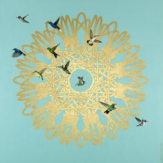 A personal favourite from my Etsy shop https://www.etsy.com/uk/listing/535337733/gold-spirograph-and-hummingbirds-signed