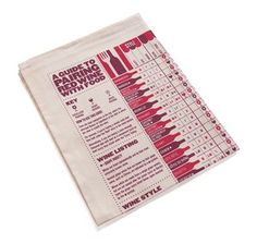 A Guide To Pairing Red Wine With Food Tea Towel by Stuart Gardiner.   Become the sommelier of your own kitchen.  The red wine version covers 34 popular styles - each one rated against 56 different food entries - that's 1904 possible combos covered! Pairings are rated as excellent, good and best avoided so you'll never make a food faux-pas.  Foods are grouped into 7 categories: Meat & Poultry, Seafood, Flavours & Herbs, Taste, International Dishes, Vegs & Vegetarian, and Dairy.