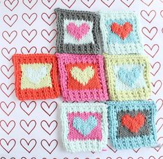 Knit by Bit: free Cotton Heart blanket square knitting pattern at LoveKnitting