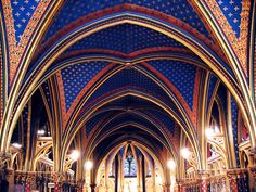 Lower level, St. Chapelle cathedral in Paris