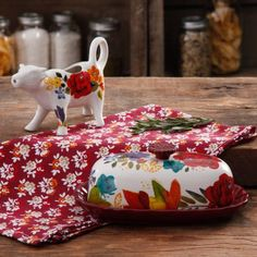 The Pioneer Woman Timeless Floral Butter Dish and Cow Creamer