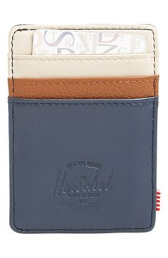 Free shipping and returns on Herschel Supply Co. 'Raven' Leather Card Case at Nordstrom.com. A trio of colors styles a slim card case crafted from leather and finished with a logo-detailed metal money clip on the backside.