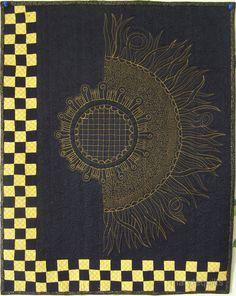 Art quilt, wall hanging, fiber art- Sunflower Zentangle II marytequilts on etsy