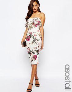 ASOS Tall   ASOS TALL Ruffle Print Bandeau Midi Dress at ASOS