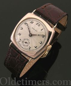 A 9ct rose gold cushion vintage Rolex watch, 1920s