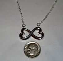 Solid Sterling Silver .925 Double Intertwined Hearts Pendant With Rolo Chain Necklace - FREE Ship!