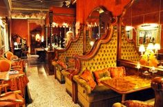 VENICE, ITALY - SEPTEMBER 27, 2009: Picture of cozy rustic restaurant interior in fancy Venetian hotel