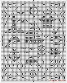 Crochet Boat, Nautical Crochet, Nautical Pattern, Cross Stitch Sea, Cross Stitch Samplers, Cross Stitch Embroidery, Filet Crochet Charts, Crochet Motifs, Crochet Patterns