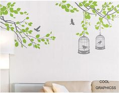Branches with birds cage Vinyl Wall Decal Sticker by coolgraphicss, $55.00 I love the green leaves!! So love I do not have to paint on the walls anymore!! This a must have!