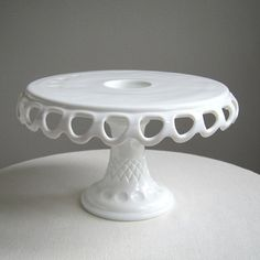 Vintage Milk Glass Cake Stand with Lacy by BarkingSandsVintage