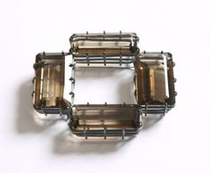Georg DOBLER - brooch - blackened silver, smoky quartz