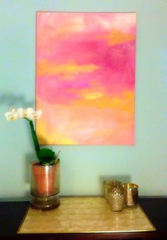 Delightful and Vibrant pink and gold original acrylic abstract painting on canvas. The canvas measures 18 x 24 inches, with 1/2 canvas depth. A