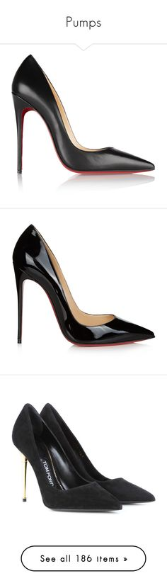 """""""Pumps"""" by pink-roosje ❤ liked on Polyvore featuring shoes, pumps, heels, christian louboutin, chaussures, slip-on shoes, black high heel shoes, christian louboutin shoes, black slip-on shoes and black leather shoes"""