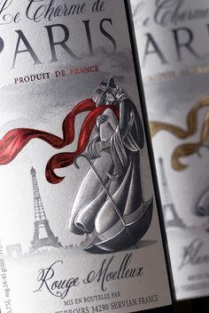 "French wine design ""Le Charme de Paris"" on Packaging Design Served #taninotanino #vinosmaximum"