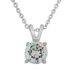 Sterling Silver Solitaire Clear Gem Stone White Crystal Cz Pendant Necklace