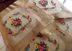 Seven Completed French unused Needlepoint Tapestry Hand stitched Seat panels Royal Paris Floral Garland exceptionally rare