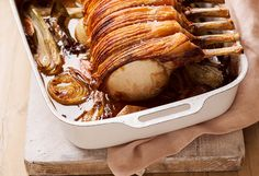 This delectable pork rack is well worth the wait it takes to cook. With tender portions of meat on the bone, you'll want to make it all over again!