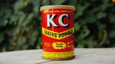Vintage 50s KC Baking Powder Tin Canister Retro by SycamoreVintage