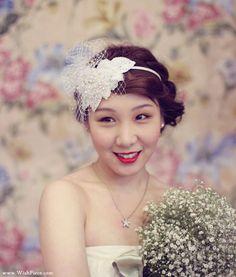 Bridal Headband, Wedding Hair Accessories, Rhinestone and Lace Headpiece, Ivory Wedding Headpiece with Birdcage Veil, Bridal Hair Fascinator. $295.00, via Etsy.