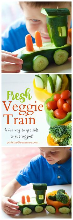 A fun way to eat veggies --- a fresh veggie train! Colorful, fresh vegetables all served in an adorable, edible train! Perfect for picky eaters and parties! @alicanwrite