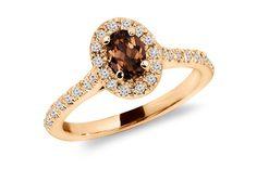 Oval cut Smokey Topaz and Diamond Engagement by JewelersEnterprise