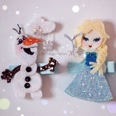Frozen Inspired Olaf, Elsa Hair Clip, Character Inspired, Disney by Little Magic Pieces