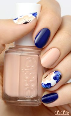 Nude, White and Blue Nails