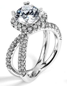 1.10 ctw Prong Setting G SI2 Round Brilliant Diamond 18k White Gold Semi Mount Engagement Ring