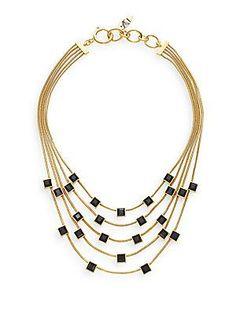 Diane von Furstenberg Cubism Swarovski Stone Multi-Row Necklace - Gold