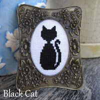 Floss & Fleece: Free printable black cat cross-stitch chart
