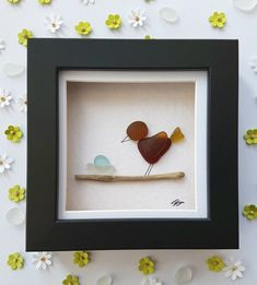 Sea glass art unique bird new baby gift for new parents Mother's day gift for mom birthday gift framed art gift. Adorable and original sea glass art photo of a red sea, brown and yellow glass bird Sea Glass Crafts, Sea Glass Art, Stained Glass Art, Unique Mothers Day Gifts, Gifts For New Parents, Bird Nursery, Nursery Decor, L'art Du Vitrail, Art Encadrée