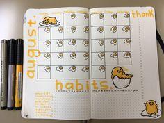 Gudetama Monthly Spread Bullet Journal August
