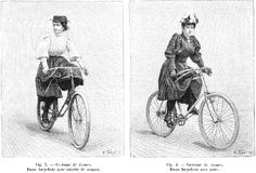 Costumes de dames bicyclistes : à gauche, dame avec culotte de zouave ; à droite, dame avec robe (La Nature,  1895)