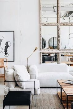 A mix of mid-century modern, bohemian, and industrial interior style. Home and… - A mix of mid-century modern, bohemian, and industrial interior style. Home and. Interior Decorating Styles, Interior Styling, Decorating Games, Home Design, Living Room Decor, Living Spaces, Estilo Interior, Mcm House, Bohemian Living
