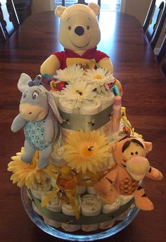 Winnie The Pooh Diaper Cake by CreationsByAngeleque on Etsy