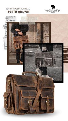 Vintage Leather Messenger Bag, Messenger Bag Men, Leather Bag, Satchel, Crossbody Bag, Everyday Bag, Laptop Bag, Perth, School Bags
