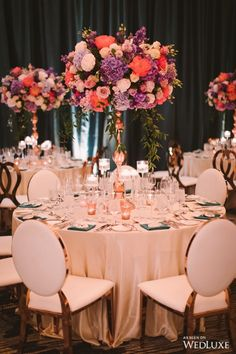 Top 5 Never Been Seen Wedding Table Centerpieces - Put the Ring on It Colorful Centerpieces, Tall Wedding Centerpieces, Reception Decorations, Table Decorations, Jewel Tone Wedding, Purple Wedding, Wedding Flowers, Luxury Wedding Venues, Centre Pieces