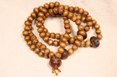 108 Wood Bead and Etched Agate Buddhist Rosary Mala by QuietMind, $22.00