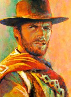 """A Man with No Name""  oil  16x20   Clint Eastwood    western art / Fujiwara / kfgallery.com"
