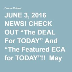 "JUNE 3, 2016 NEWS! CHECK OUT ""The DEAL For TODAY"" And ""The Featured ECA for TODAY""!!  May 28, 2016DAILY FEATURED ECA, ONLINE SHOPPING!, SHOPPING AT TRIPLECLICKS!!, TODAY'S DEAL, TripleClicks ""OUR"" Mega Online Department Store""TripleClicks"" YOUR Store and My Store!, Discounted /Cost Price, E Commerce Associates, News/Today's Deal, Retail Price GREAT JOB SHERON FENTY FROM OUR ECA FINANCE RELEASE…"