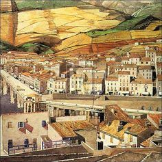 Port Vendres La Ville by Charles Rennie Mackintosh, France. Charles Rennie Mackintosh, Art Nouveau, Art Deco, House For An Art Lover, Glasgow School Of Art, Urban Landscape, Art Design, Illustrations, Lovers Art