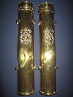 Brass flute cases used by the drummers of the 72nd Seaforth Highlanders. By tradition these are also said to have held the 'Cat o' nine tails' kept by the Drum Major, who was responsible for administering the punishment of flogging.