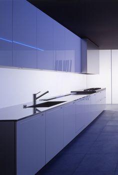 Sleek, minimalist kitchen with subtle lighting, LT by Piero Lissoni for Boffi _