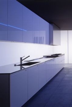 Sleek, minimalist kitchen with subtle lighting, LT by Piero Lissoni for Boffi _