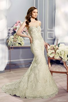 moonlight couture bridal fall 2016 h1288 strapless sweetheart vintage inspired layered skirt mermaid wedding dress