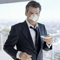 How do you drink your tea?.. Here's how Pierce Brosnan drinks his! :) #tea #PierceBrosnan #lovetea #teaculture #fortheloveoftea #celebrities #teaparty #photooftheday