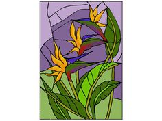 """""""Stained Art Glass BIRD OF PARADISE Suncatcher"""" An exquisite tropical flower -- the bird of paradise -- blooms in vibrant color! This vertical hand-painted art glass panel is zinc-framed and features"""