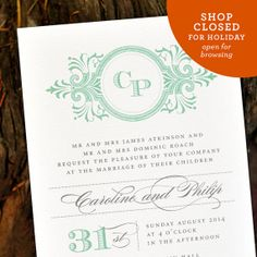 Vintage 1920s Wedding Invitation  'Classic by twoforjoypaper, $4.25